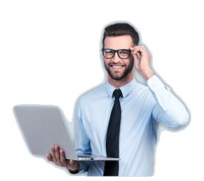 Boldog ember laptoppal